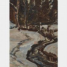 JAMES EDWARD HERVEY MACDONALD, O.S.A., R.C.A., JANUARY THAW, CIRCA 1908, oil on board, 8 ins x 6.25 ins; 20.3 cms x 15.9 cms