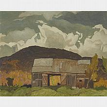 ALFRED JOSEPH CASSON, O.S.A., P.R.C.A., BARN AT POINTE AU CHENE, QUE., oil on board, 12 ins x 15 ins; 30.5 cms x 38.1 cms
