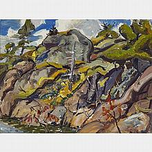 ARTHUR LISMER, O.S.A., R.C.A., ROCK RHYTHM, GEORGIAN BAY, 1944, oil on panel, 12 ins x 16 ins; 30.5 cms x 38.1 cms