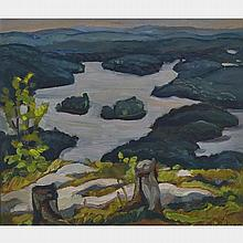 NORA FRANCES ELISABETH COLLYER, SIXTEEN ISLAND LAKE, P.Q. FROM SAVAGE'S MOUNTAIN, 1945, oil on panel, 12 ins x 14 ins; 30.5 cms x 35.6 cms