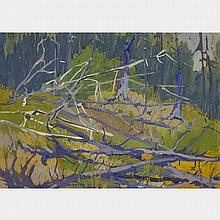 TOM THOMSON, FOREST BRANCHES, graphite and gouache on board, 7.25 ins x 9.75 ins; 17.8 cms x 25.4 cms