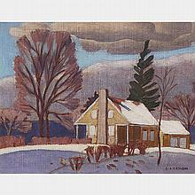 ALFRED JOSEPH CASSON, O.S.A., P.R.C.A., MORGAN COTTAGE, WESTON,  ONTARIO, 1935, oil on canvas, 5.75 ins x 7.5 ins; 14.6 cms x 19.1 cms