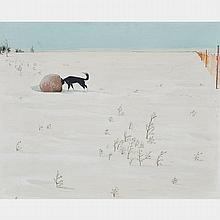 WILLIAM KURELEK, R.C.A., DOG & ROCK, 1963, oil on masonite, 18.25 ins x 22.5 ins; 45.7 cms x 55.9 cms