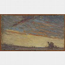 LIONEL LEMOINE FITZGERALD, LANDSCAPE, oil on canvas, laid down on board, 4.25 ins x 7.75 ins; 10.8 cms x 19.7 cms
