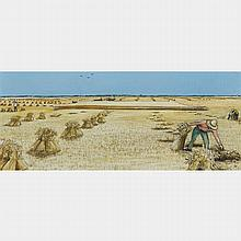 WILLIAM KURELEK, R.C.A., WARTIME HARVESTING NEAR WINNIPEG, oil on masonite, 8.5 ins x 20 ins; 20.3 cms x 50.8 cms