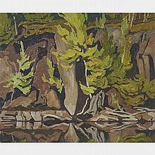 ALFRED JOSEPH CASSON, O.S.A., P.R.C.A., REFLECTIONS - CLARENDON LAKE, 1957, oil on board, 9.25 ins x 11.25 ins; 23.5 cms x 28.6 cms