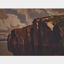 CHARLES FRASER COMFORT, O.S.A., P.R.C.A., WHITMAN MONUMENT (BON ECHO ROCK, MAZINAW LAKE), oil on panel, 12 ins x 16 ins; 30.5 cms x 40.6 cms