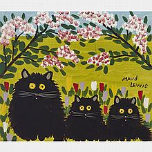 MAUD LEWIS, THREE BLACK CATS, oil on board, 10.5 ins x 14.25 ins; 26.7 cms x 36.2 cms
