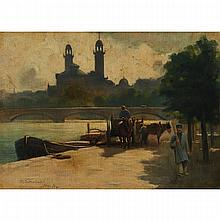 Robert Lewis Sutherland (1890-1932), BRIDGE WITH CART AT PARIS, 1894, Oil on canvas; signed and dated /94 at Paris lower left, 15.5 x 21.5 in — 39.4 x 54.6 cm