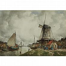 John Ernest Aitken (1881-1957), WINDMILL ON THE CANAL, Watercolour; signed lower right, Sight 13.25 x 19 in — 33.7 x 48.3 cm