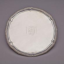 George III Silver Circular Salver, John Parker I & Edward Wakelin, London, 1772, diameter 13