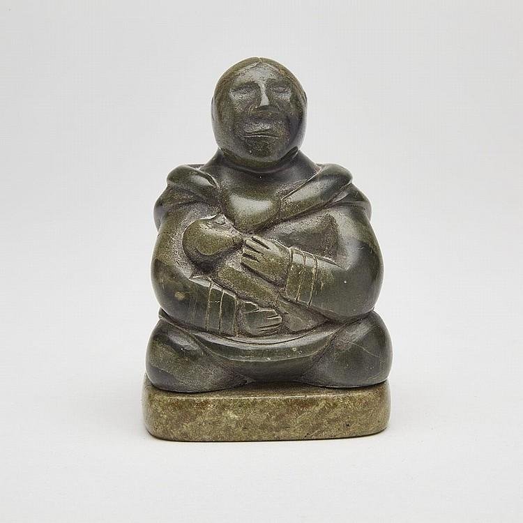 MARY UTYE (1938-), MOTHER NURSING CHILD, stone, 3.75