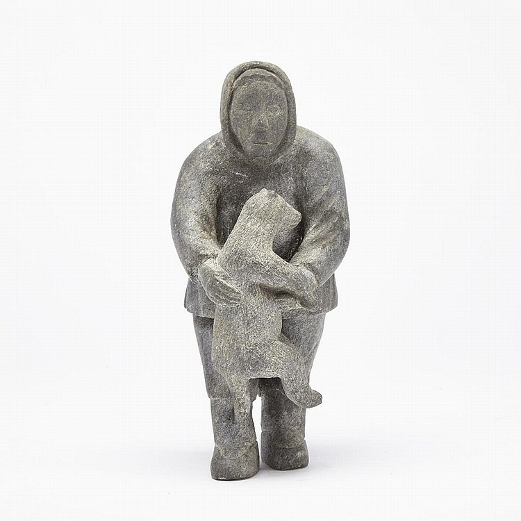ELISAPIE TAQAQ SAVIAKJUK (1914-), MAN AND ANIMAL, stone, 7