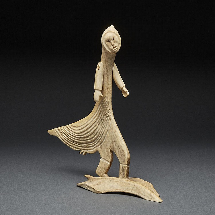 NOAH ANNANACK (1937-), BIRD WOMAN, antler, 14