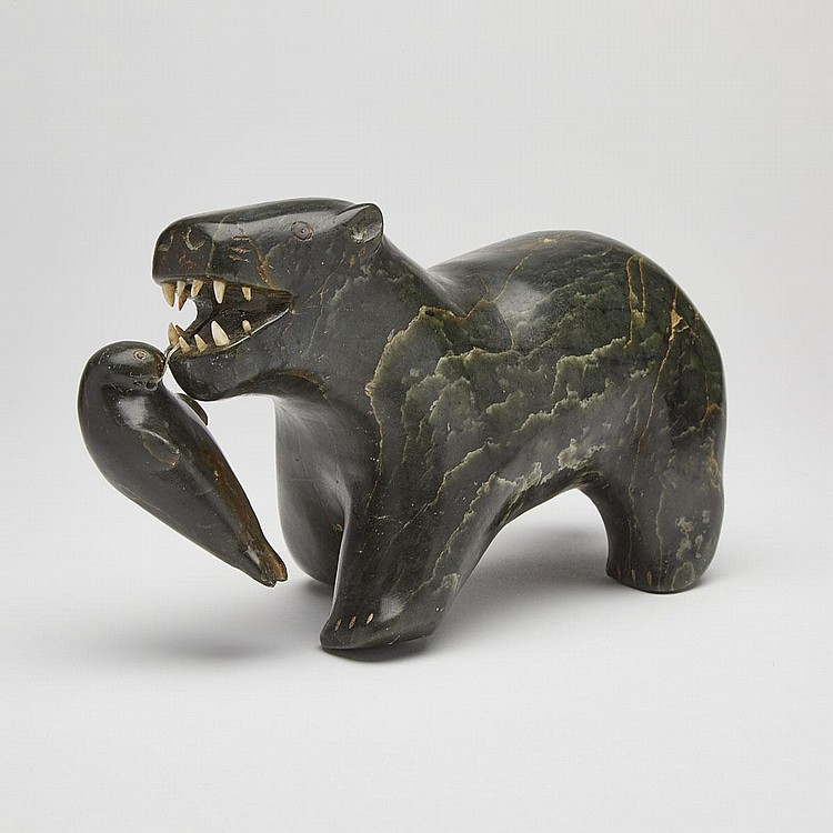LEVI NUNGAQ (1925-), POLAR BEAR EATING SEAL, stone, ivory, sinew, 4.75