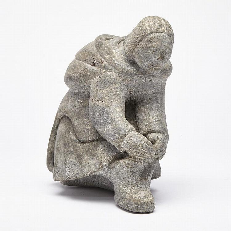 SIASIE KAKANGAK ANGUTIGIRK, WOMAN PULLING ON A KAMIK, stone, 7.5