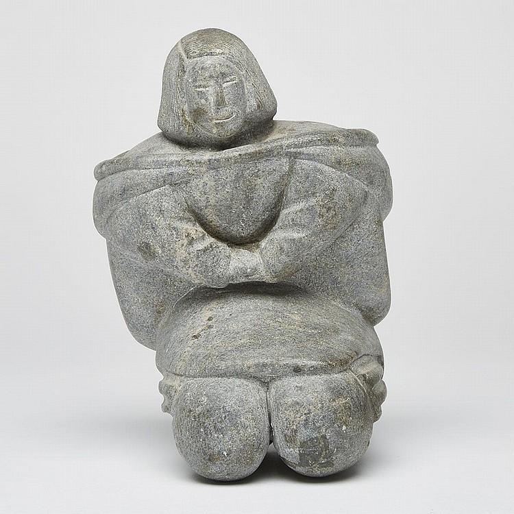 EVA IDLASUK PAUYUNGIE (1941-), KNEELING WOMAN, stone, 8