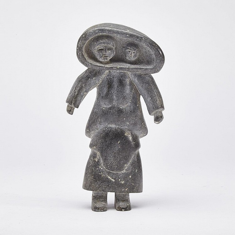 NAALUK NAPPAALUK (1928-), MOTHER WITH CHILD IN AMAUT, stone, 7.75