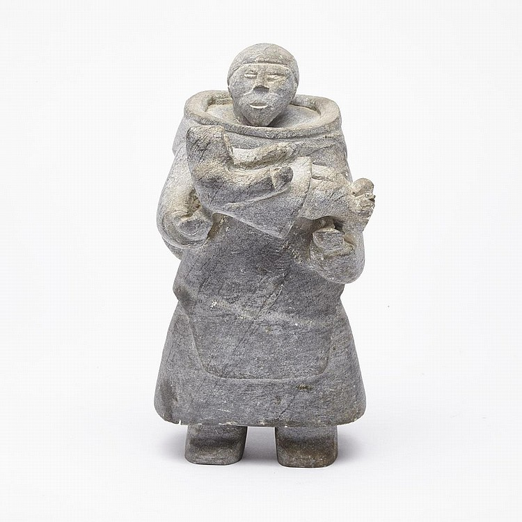 SARAH AUPALURTAQ KAITAK (1907-1985), MOTHER HOLDING HER CHILD, stone, 10.5