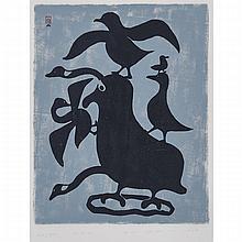 "KELLYPALIK MANGITAK (1940-), THOUGHTS OF BIRDS, stonecut (unframed), 22.75"" x 18"" — 57.8 x 45.7 cm."