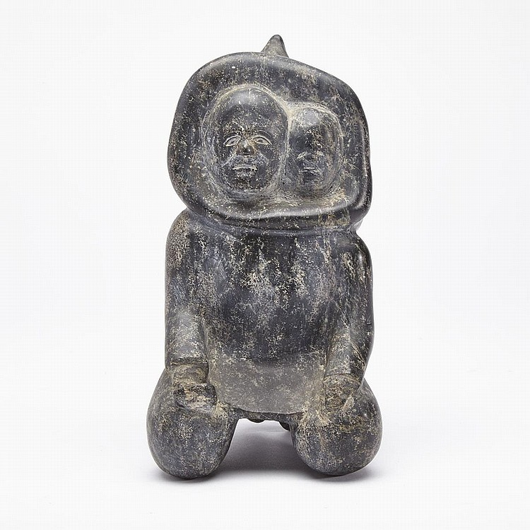 Possibly: LYTA SUDLOO (1951-), KNEELING MOTHER WITH CHILD IN AMAUT, stone, 8