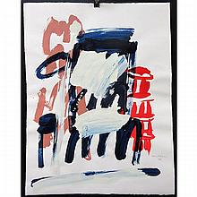 """GRAHAM CANTIENI (CANADIAN, 1938-), UNTITLED (ABSTRACTS), TWO OILS ON PAPER; EACH SIGNED AND DATED '96 LOWER RIGHT (Each sheet, 25.5"""" x 19.8"""") UNFRAMED"""