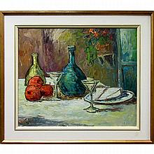 """GEORGE HRABE (CANADIAN, 1937-), STILL LIFE, OIL ON CANVAS; SIGNED LOWER LEFT; SIGNED AND TITLED VERSO AND TO GALLERY LABEL, 20"""" x 24"""" — 50.8 x 61 cm."""
