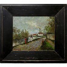 "ARTHUR DOMINIQUE ROZAIRE (CANADIAN, 1879-1922) UNTITLED (FIGURES ALONG CANAL)OIL ON PANEL; SIGNED LOWER LEFT7"" x 8.5"" — 17.8 x 21.6 cm.Estimate: $700—900"