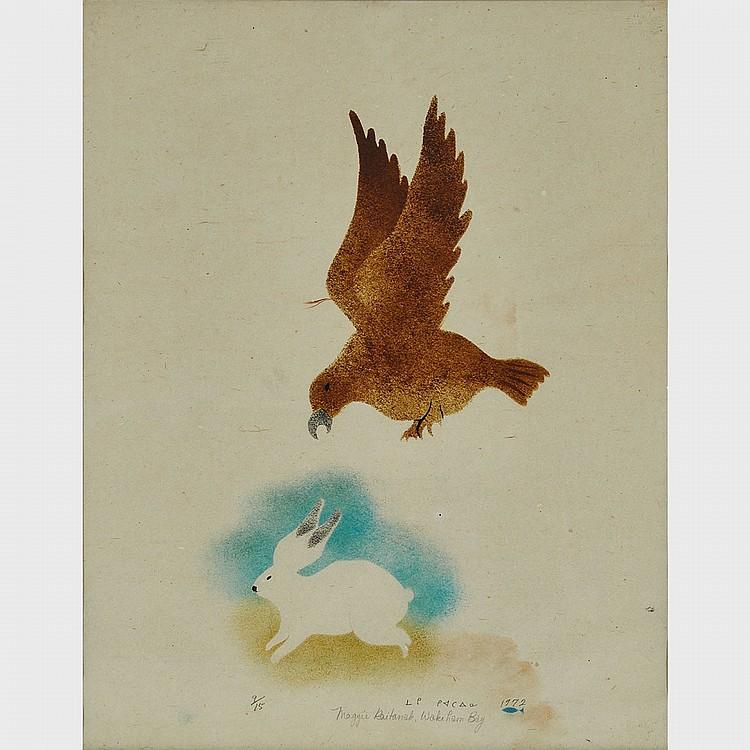 MAGGIE KIATAINAQ (1948-), PREYING EAGLE, stencil (framed), 18.5 x 14.5 in — 47 x 36.8 cm