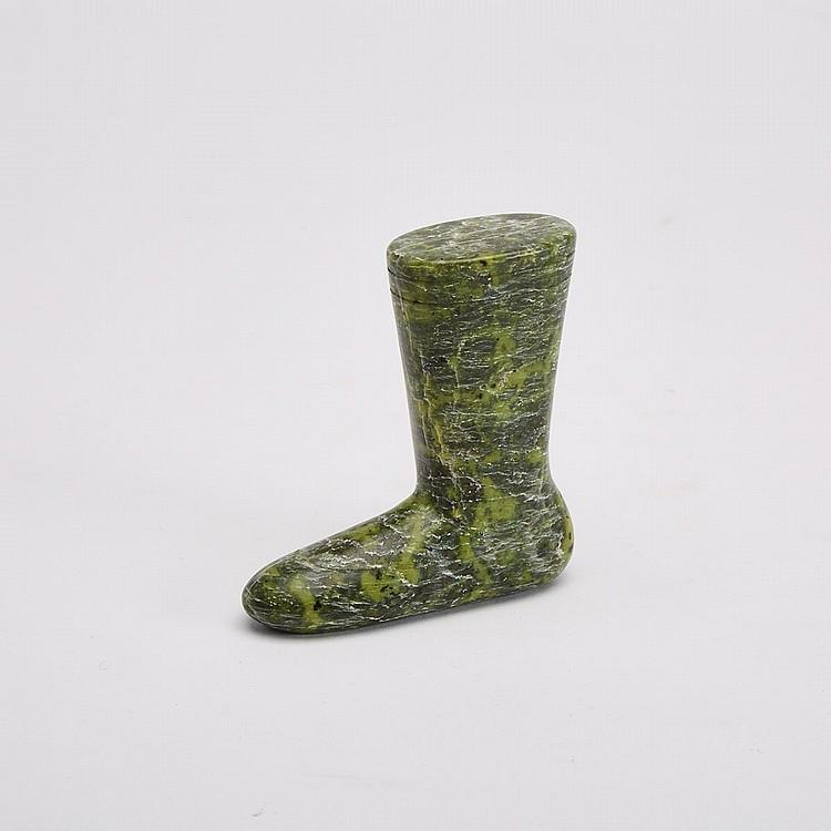 INNUKI OQUTAQ (1926-1986), BOOT, stone, 3.75 x 3.75 x 1 in — 9.5 x 9.5 x 2.5 cm