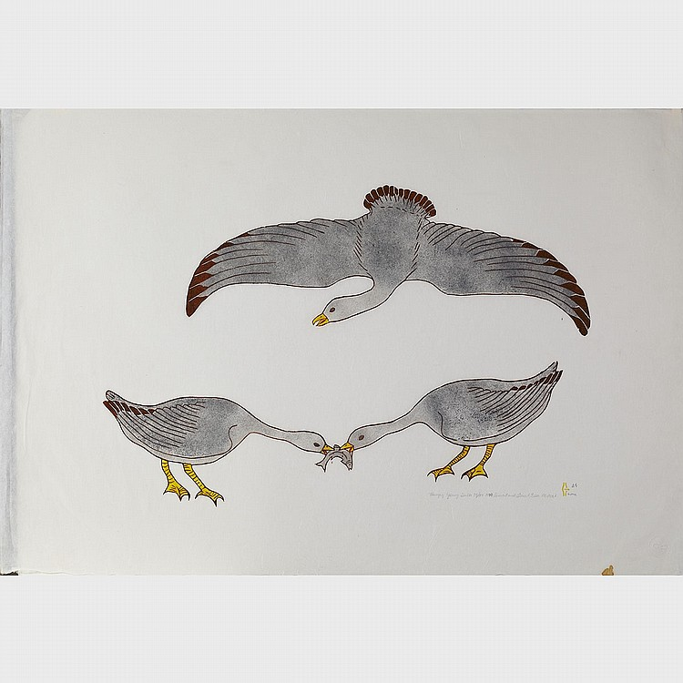 MARTHA NOAH (1943-), HUNGRY YOUNG GULLS, linocut and stencil (unframed), 25.25 x 37 in — 64.1 x 94 cm