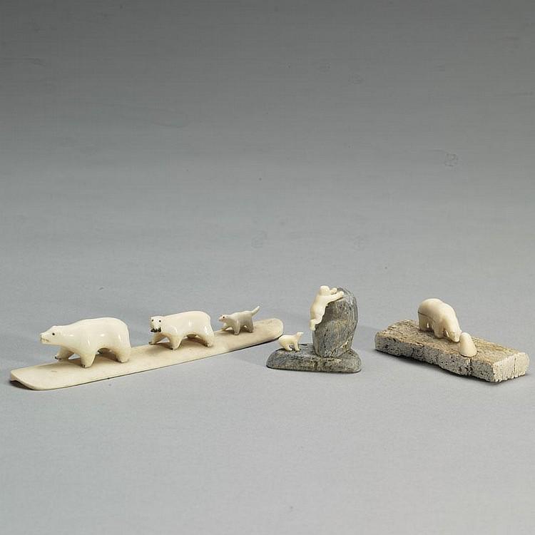 AUGUSTIN ANAITTUQ; NICK SIKKUARK; JUDAS ULLULAQBEAR CHASING MAN; POLAR BEAR AND SEAL ON BASE; TWO BEARS AND DOG ON BASE