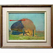 ADDISON WINCHELL PRICE (CANADIAN, 1907-2003), HAYSTACK, OIL ON PANEL; SIGNED AND DATED /33 LOWER RIGHT; TITLED VERSO - Condition noted: crack in panel, see photos, 10.5