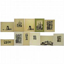 """KENNETH SEAGER (CANADIAN, 1927-), VARIOUS TITLES (QUEBEC VIEWS), ELEVEN BLOCK PRINTS; EACH SIGNED AND TITLED - VARIOUS IMAGE SIZES (4"""" x 3"""" to 9"""" x 16.5"""") UNFRAMED"""
