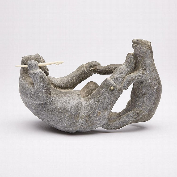 KULULAK TAYARAK (1935-), MAN WRESTLING BEAR, stone, 6