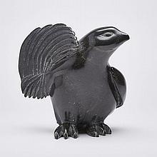 """MARK PITSEOLAK (1945-2012), STRETCHING BIRD, stone, 8.5"""" x 8.25"""" x 5"""" — 21.6 x 21 x 12.7 cm."""