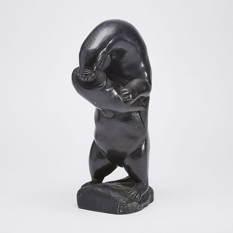 AIBILIE ECHALOOK (1940-), OTTER EATING FISH, stone, 13.5