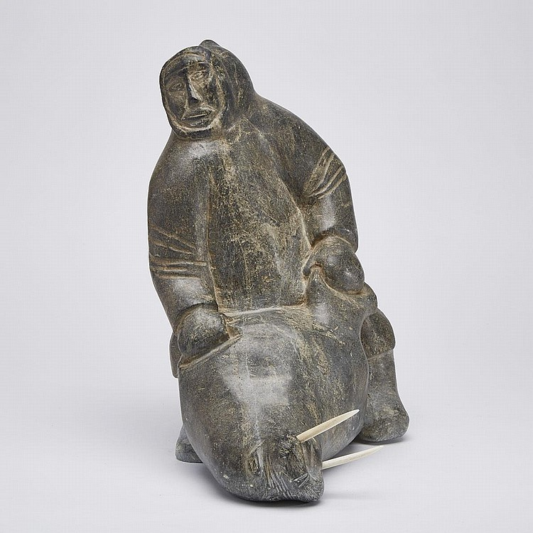 PINGU ALAKU (1930-1975), HUNTER WITH WALRUSES, stone, ivory, 13