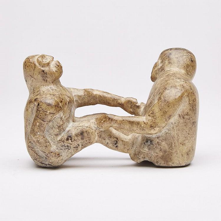 SIMON OLEEKATALIK (1942-), ARM WRESTLING FIGURES, stone, 3