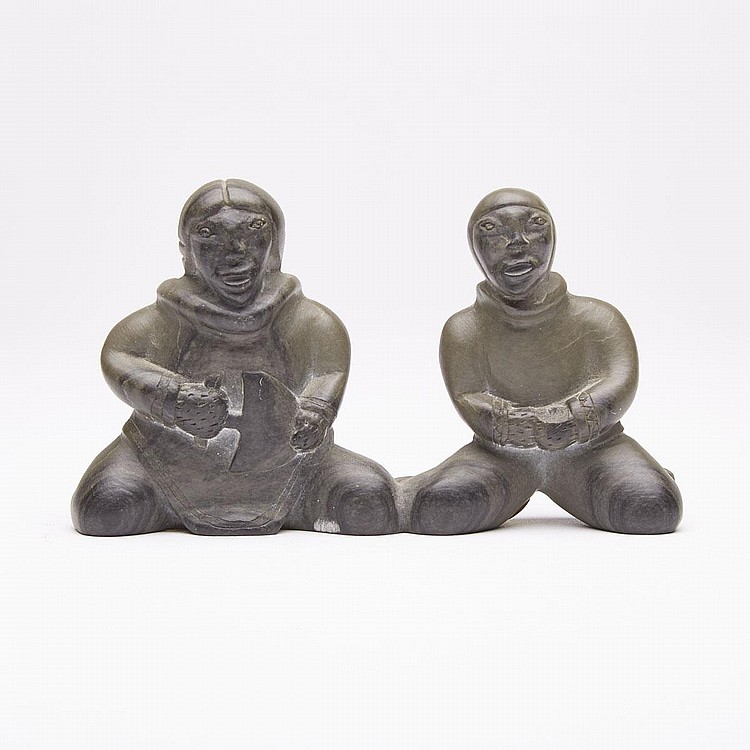 JOBIE CROW (1938-), KNEELING MAN AND WOMAN, stone, 2.75