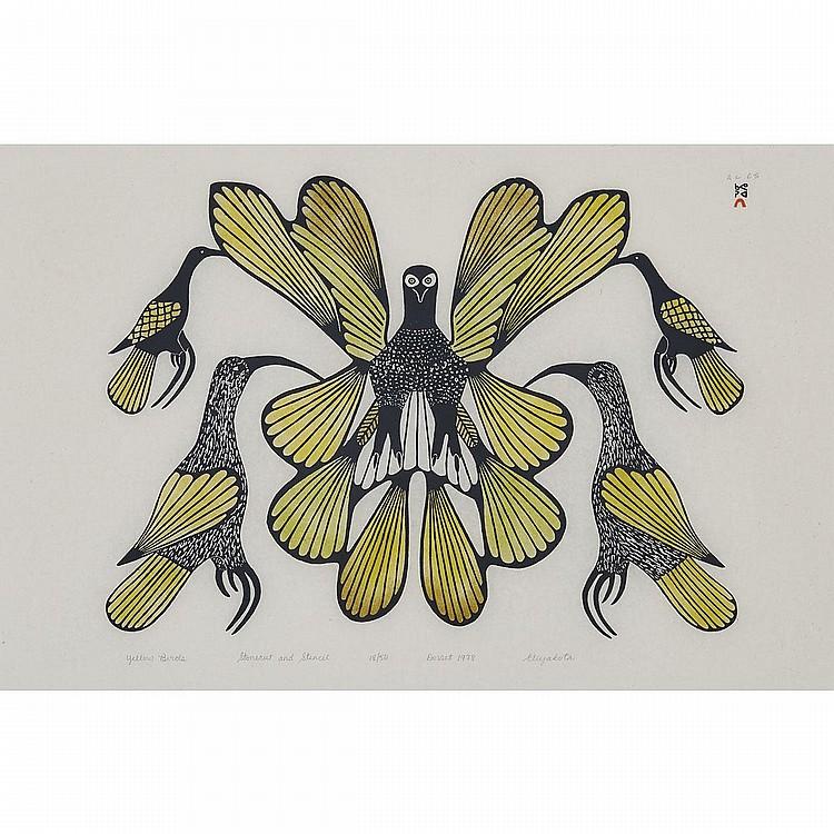 ELIYAKOTA SAMUALIE (1939-1987), YELLOW BIRDS, stonecut and stencil (framed), 23
