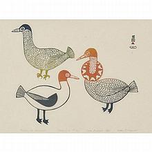 "MARK PITSEOLAK (1945-2012), BIRDS OF DELIGHT, stonecut (framed), 17.75"" x 23.5"" — 45.1 x 59.7 cm."