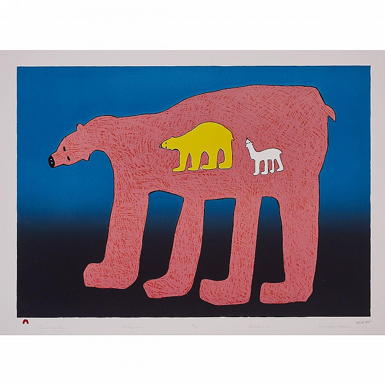 SIMAIYOK AKESUK (1924-1976), LUMINOUS BEARS, stonecut (framed), 21