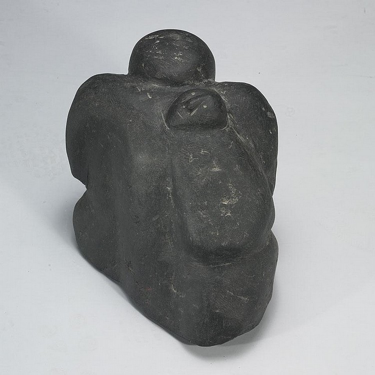 MARC ALIKASWA (1928-), E1-121, ArviatKNEELING MOTHER WITH HER CHILD IN HER AMAUT