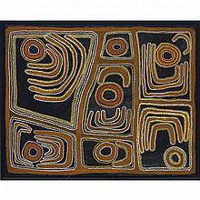 "Mulgra (mawucura) jimmy nerrimah (c.1930- ), UNTITLED ABSTRACT, 26.5"" x 34"" — 67.3 x 86.4 cm."