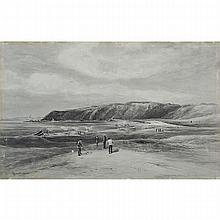 John Smart (1838-1899), ERIE LINKS, Watercolour en grisaille heightened with white on paper; signed lower left and titled lower right, Image 17.5
