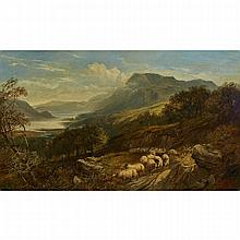 "Joseph Adam (fl. 1858-1880) In Collaboration with Joseph Denovan Adam (1842-1896), HIGHLAND LANDSCAPE WITH SHEEP, 1868, Oil on canvas; signed ""J. & J.D. Adam"" by both artists, father and son, and dated 1868 on the rock lower right, 30"