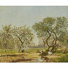 "Sir David Murray (1849-1933), UNDER THE BLOSSOM, 1922, Oil on canvas; signed and dated 1922 lower left, signed, titled, inscribed and numbered ""No. 3"" to the wood backboard, 30.25"