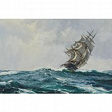 "Montague Dawson (1890-1973), ""TEARING ON"" / THE 'WILD RANGER' 1044 TONS BUILT IN 1853, Oil on canvas; signed lower left, titled to the stretcher, 20"