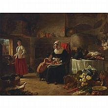 George Lance (1802-1864), PREPARING FOR THE FEAST, Oil on canvas; signed and titled at Liverpool to artist's label verso, 34